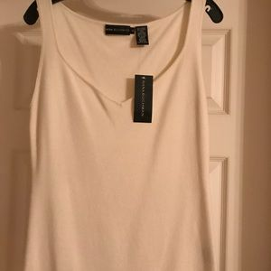 Dana Buchman V-Neck Ivory Sleeveless Top Sz Large